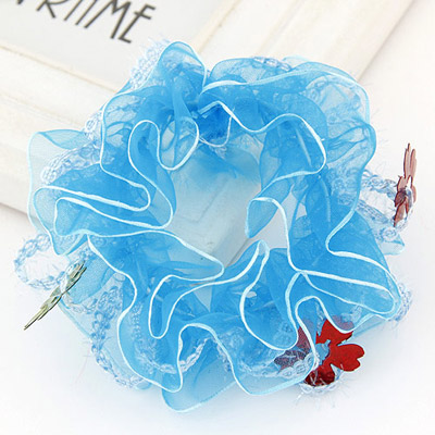Childrens Blue Flower Decorated Lace Design Rubber Band Hair Band Hair Hoop