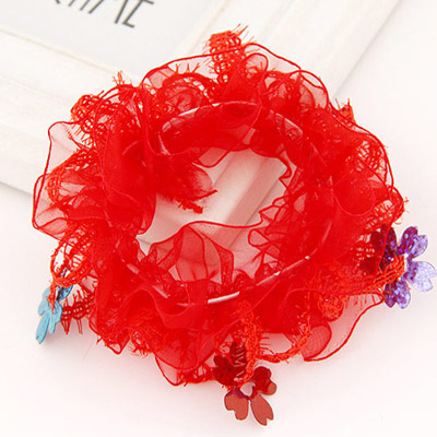 Hiphop Red Flower Decorated Lace Design Rubber Band Hair Band Hair Hoop