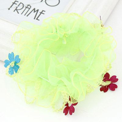 Limited Light Green Flower Decorated Lace Design Rubber Band Hair Band Hair Hoop