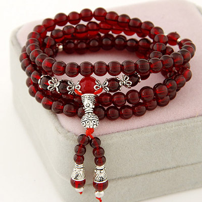 Waxing Claret-red Beads Decorated Multilayer Design Bead Korean Fashion Bracelet
