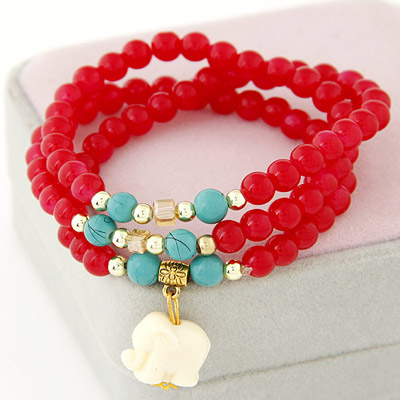 Hanging Red Beads Decorated Multilayer Design Bead Korean Fashion Bracelet