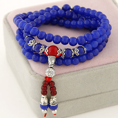 Fitness Sapphire Red Beads Decorated Multilayer Design Bead Korean Fashion Bracelet