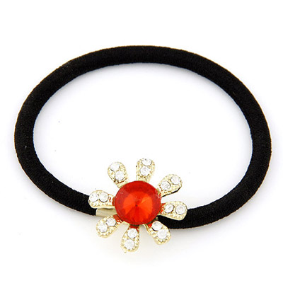 Recycled Red Diamond Decorated Flower Design Alloy Hair Band Hair Hoop