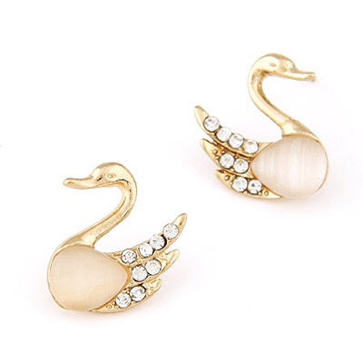 Gold Color Diamond Decorated Swan Shape Design Alloy Stud Earrings
