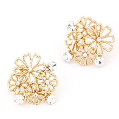 Brown Gold Color Diamond Decorated Flower Design Alloy Stud Earrings