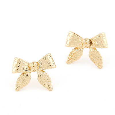 Reflective Gold Color Bowknot Shape Simple Design