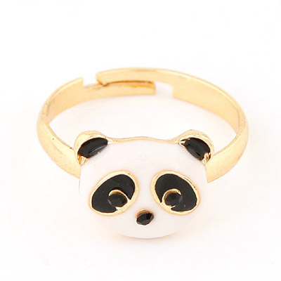 Flirty Black & White Panda Head Decorated Simple Design Alloy Korean Rings