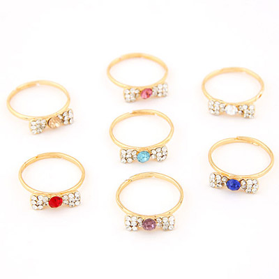 Cocktail Color Will Be Random Diamond Decorated Bowknot Shape Design(1pc) Alloy Korean Rings
