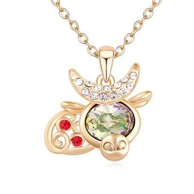 Indian Green & Champagne Gold Diamond Decorated Cow Shape Pendant Design Alloy Crystal Necklaces