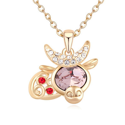 Timeless Light Purple & Champagne Gold Diamond Decorated Cow Shape Pendant Design Alloy Crystal Necklaces