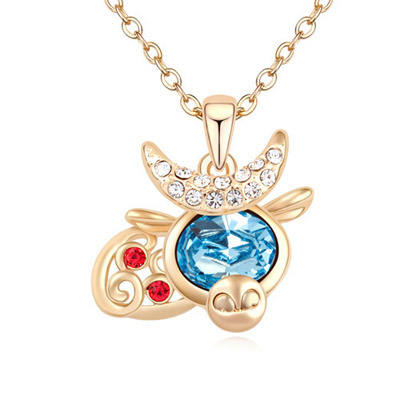 Christmas Navy Blue & Champagne Gold Diamond Decorated Cow Shape Pendant Design Alloy Crystal Necklaces