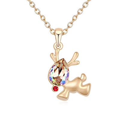 Newborn Glow Reen & Champagne Gold Diamond Decorated Deer Shape Pendant Design Alloy Crystal Necklaces