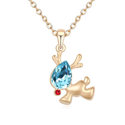 Special Navy Blue & Champagne Gold Diamond Decorated Deer Shape Pendant Design Alloy Crystal Necklaces