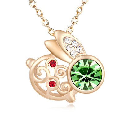 Skate Olive & Champagne Gold Diamond Decorated Rabbit Shape Pendant Design Alloy Crystal Necklaces