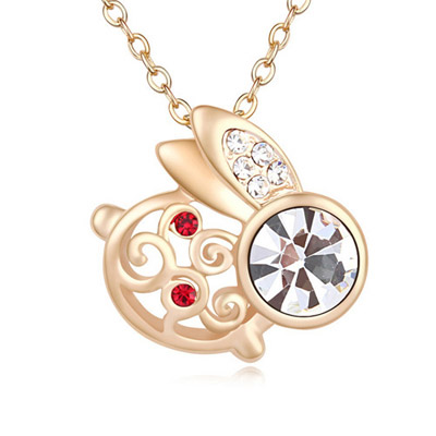 Clutch White & Champagne Gold Diamond Decorated Rabbit Shape Pendant Design Alloy Crystal Necklaces