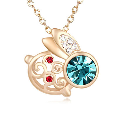 Drawstring Navy Blue & Champagne Gold Diamond Decorated Rabbit Shape Pendant Design Alloy Crystal Necklaces