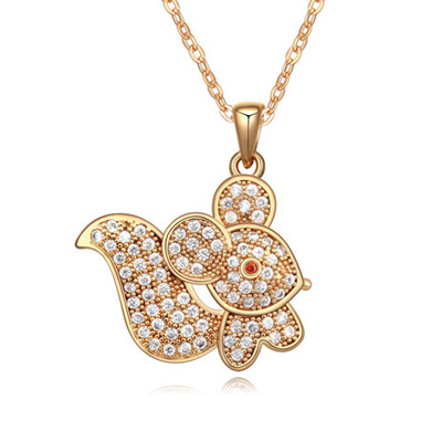 Boutique White & Champagne Gold Diamond Decorated Mouse Shape Pendant Design Zircon Crystal Necklaces
