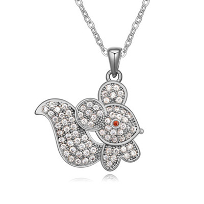 Doggie White Diamond Decorated Mouse Shape Pendant Design Zircon Crystal Necklaces