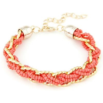 Beige Watermelon Red bead weave simpel design Alloy Korean Fashion Bracelet