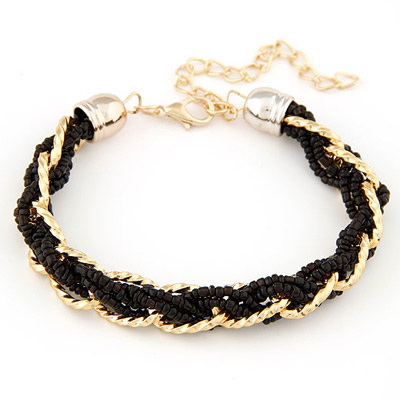 Hippie Black bead weave simpel design Alloy Korean Fashion Bracelet