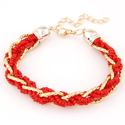 Physical Red bead weave simpel design Alloy Korean Fashion Bracelet