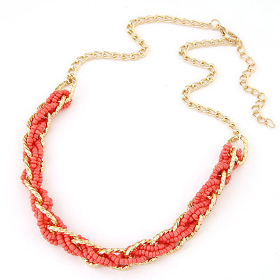 Memorial Watermelon Red bead weave simpel design Alloy Beaded Necklaces