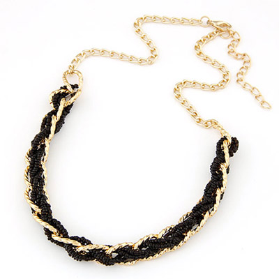 Smart Black bead weave simpel design Alloy Bib Necklaces