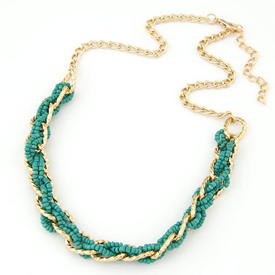 Native Green bead weave simpel design Alloy Bib Necklaces