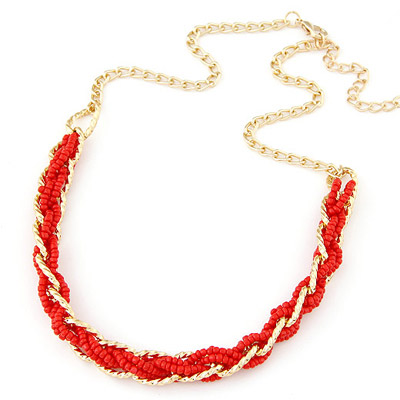 Athena Red bead weave simpel design Alloy Bib Necklaces