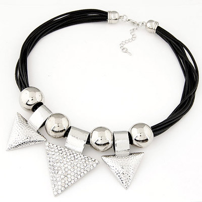Magic Silver Color Triangle Pendant Simple Design Alloy Beaded Necklaces