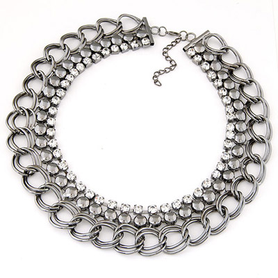 Rolling Silver Color Diamond Decorated Multilayer Design