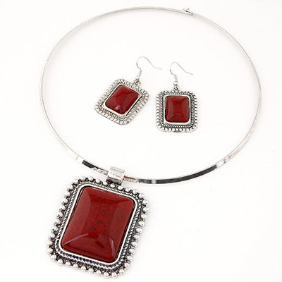 Couture Red Square Pendant Simple Design Alloy Jewelry Sets