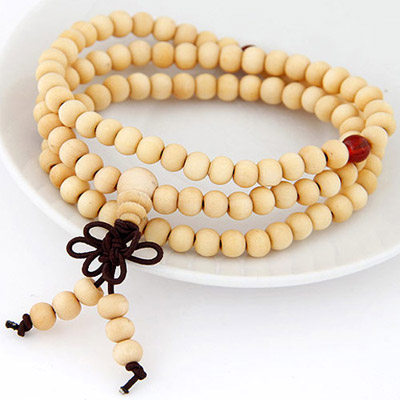 Snowboardi Light Yellow Beads Decorated Multilayer Design Wood Korean Fashion Bracelet