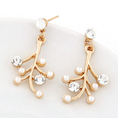 Unusual Gold Color Diamond Decorated Tree Shape Design Alloy Stud Earrings