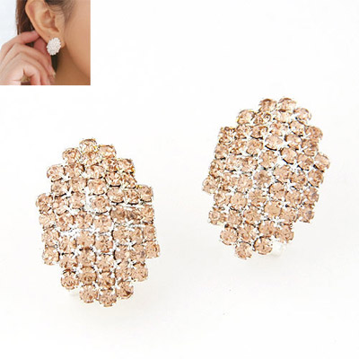 Pendant Champagne Gold Diamond Decorated Geomaterical Shape Design Alloy Stud Earrings