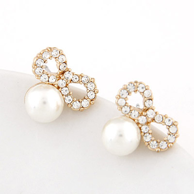 Cute White Pearl Decorated Bowknot Shape Design Alloy Stud Earrings