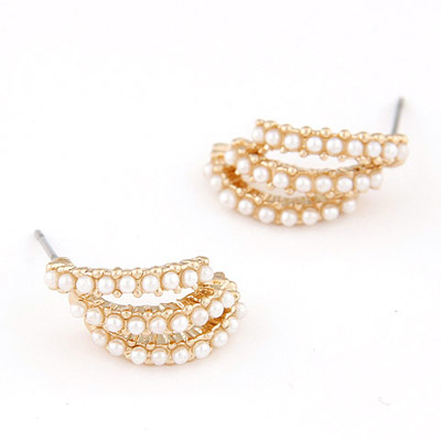 Glam White Pearl Decorated Hollow Out Design Alloy Stud Earrings
