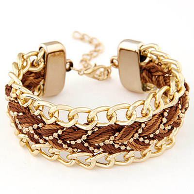 Synthetic Brown Rope Weave Simple Design Alloy Korean Fashion Bracelet