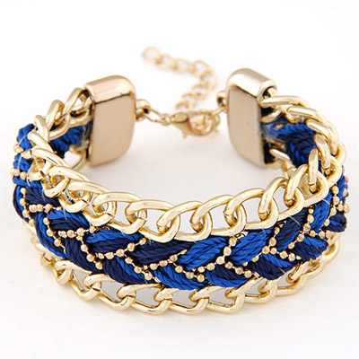 Costume Sapphire Red Rope Weave Simple Design Alloy Korean Fashion Bracelet