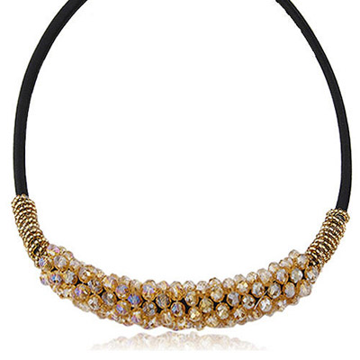 Coast Gold Color Crystal Stone Decorated Simple Design Alloy Bib Necklaces