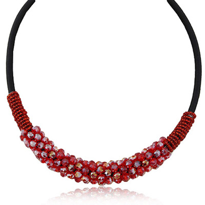 Mens Red Crystal Stone Decorated Simple Design Alloy Beaded Necklaces