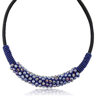 Afrocentri Blue Crystal Stone Decorated Simple Design Alloy Beaded Necklaces