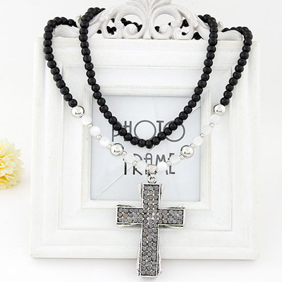 Nice Silver Color Diamond Decorated Cross Pendant Design Alloy Beaded Necklaces