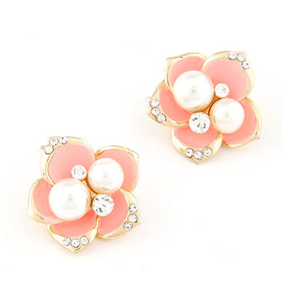 Adjustable Pink Pearl Decorated Flower Design