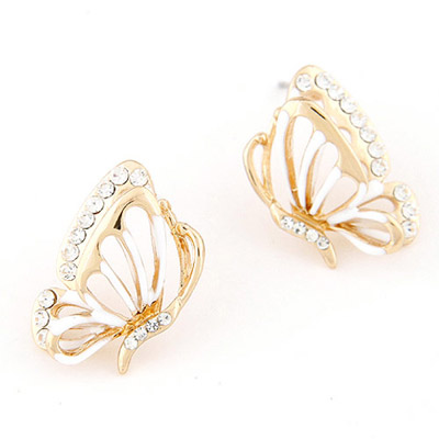 Printable White Diamond Decorated Butterfly Shape Design Alloy Stud Earrings