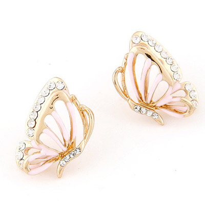Lined Pink Diamond Decorated Butterfly Shape Design Alloy Stud Earrings