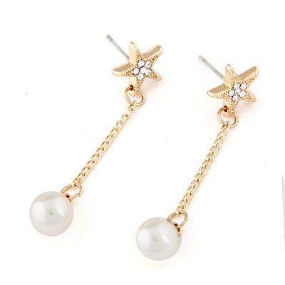 Profession Gold Color Pearl Decorated Lucky Star Design Alloy Stud Earrings