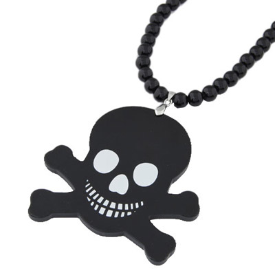 Funny Black Cartoon Skull Pendant Simple Design Acrylic Beaded Necklaces