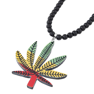 Venetian Multicolor Maple Leaf Pendant Simple Design Acrylic Beaded Necklaces