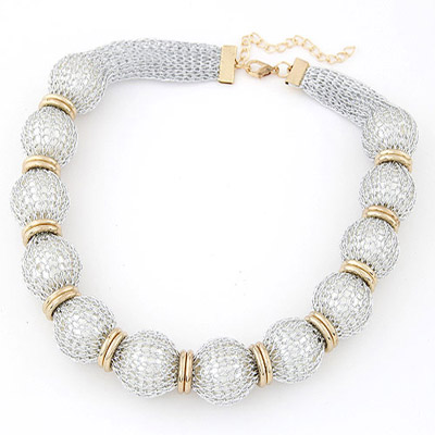 Baltic White Pearl Decorated Lace Design Alloy Bib Necklaces